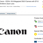 Canon EOS 100D / EOS-B 18MP Digital SLR Camera Full Specifications