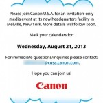 Canon Press Event Scheduled for August 21, 2013