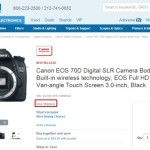 Canon EOS 70D DSLR Camera In Stock and Shipping