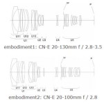 Canon Patent For CN-E 20-100mm f/2.8 and 20-130mm f/2.8-3.5 Cine Lenses
