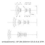 Canon Patent for EF 28-200mm f/3.5-5.6 STM Lens