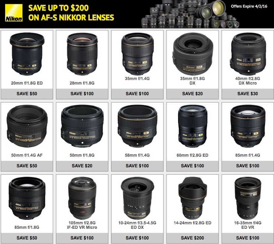 Nikon USA Lens Only Rebates Now Available for March