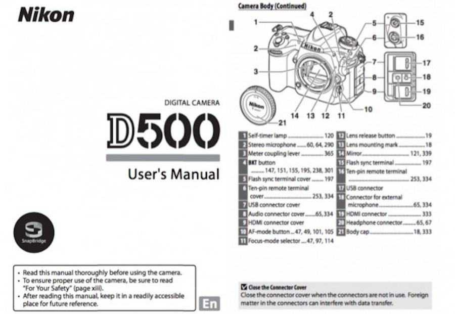 Nikon D500 User's Manual Available Online