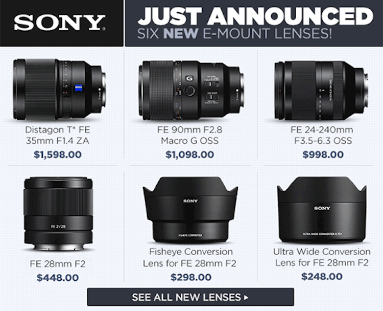 new sony fe lenses specifications roundup