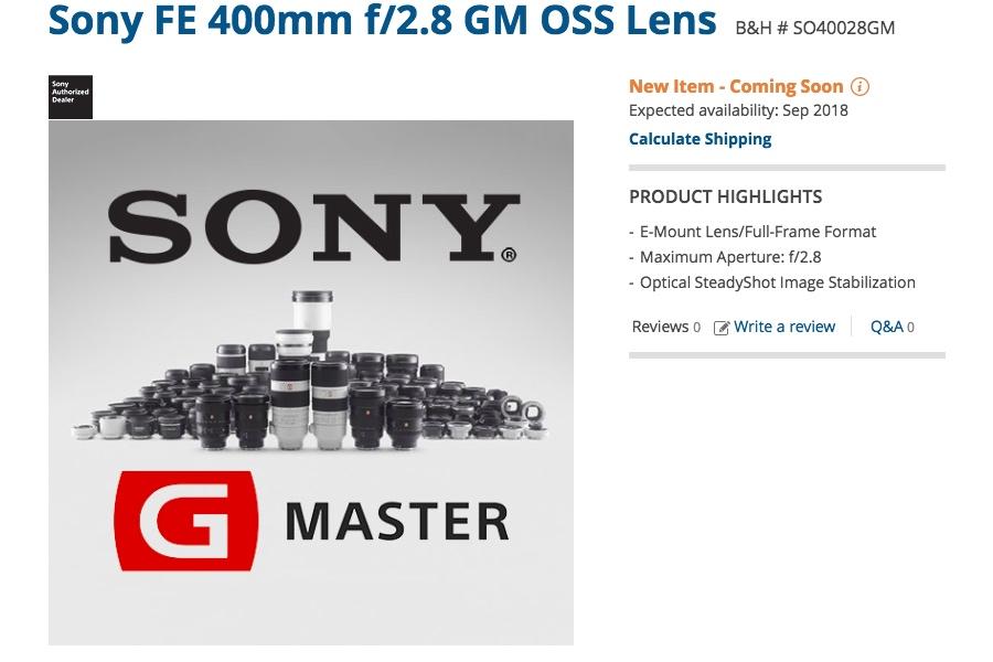 Sony FE 400mm f/2.8 GM OSS Lens Release Date Scheduled for September 2018