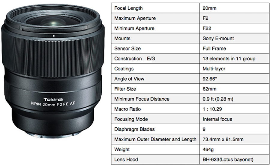 Tokina announces FíRIN 20mm f/2 FE AF lens for Sony E-mount