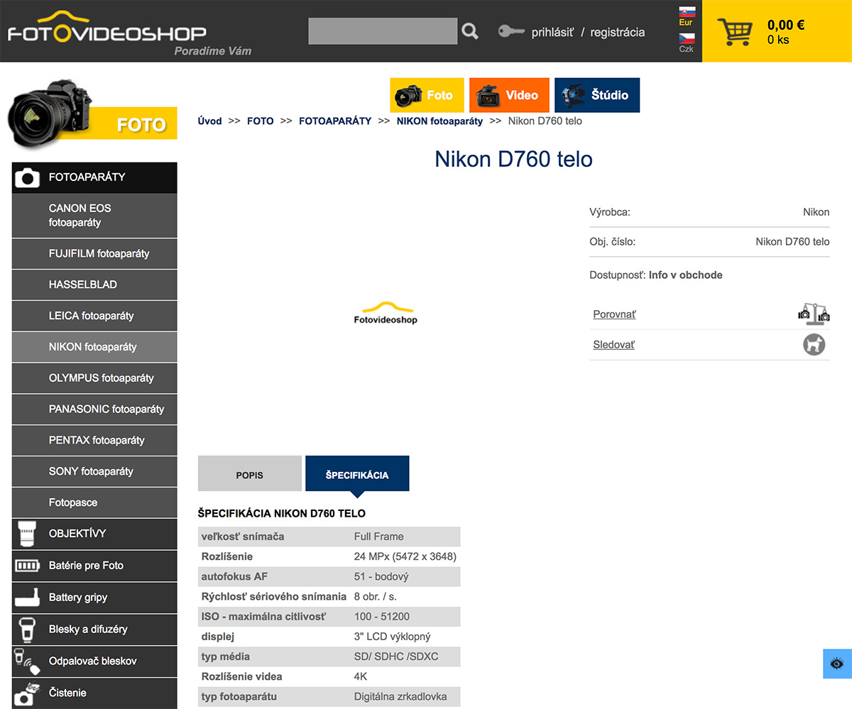 Nikon D760 DSLR camera specs listed online