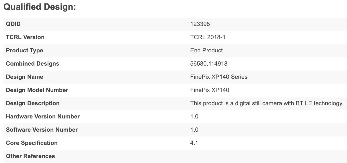 Fujifilm FinePix XP140 waterproof camera specs leaked